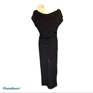 Long Black Off Shoulder Belt Dress Size Medium